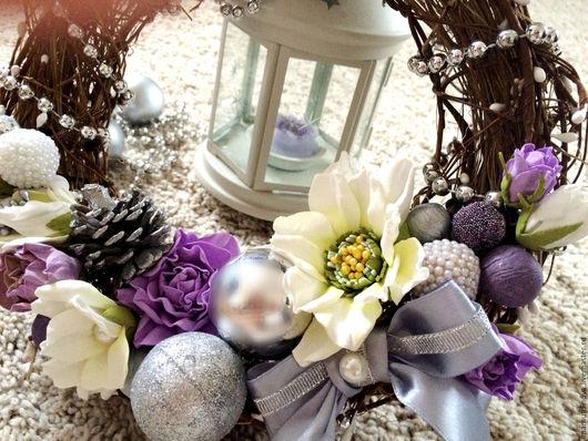 Новый год 2017 ручной работы. Ярмарка Мастеров - ручная работа. Купить Венок новогодний. Handmade. Серебряный, венок на дверь