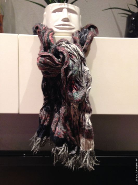 """Винтажная одежда и аксессуары. Ярмарка Мастеров - ручная работа. Купить Шарф текстурный """"креш"""" теплый 100% шерсть 170Х60 см винтаж. Handmade."""