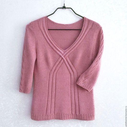 """Кофты и свитера ручной работы. Ярмарка Мастеров - ручная работа. Купить Пуловер """"Розовая пудра"""". Handmade. Пуловер вязаный, sweater"""
