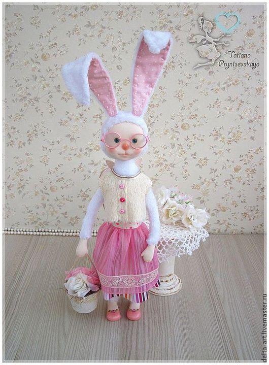 Коллекционные куклы ручной работы. Ярмарка Мастеров - ручная работа. Купить Зайка Цветочница. Handmade. Зайка, хлопок