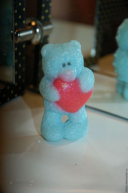 Мыло ручной работы. Ярмарка Мастеров - ручная работа. Купить Мишка Тедди с сердцем. Мыло ручной работы.. Handmade. Голубой