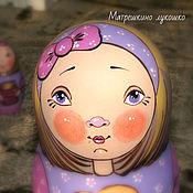Русский стиль ручной работы. Ярмарка Мастеров - ручная работа Сиреневая девочка с бантиком. Матрешка 5-ти местная. Handmade.