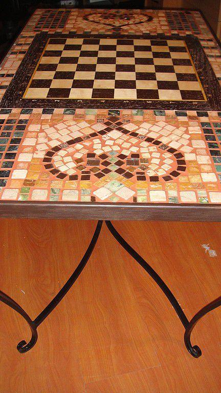 """Мебель ручной работы. Ярмарка Мастеров - ручная работа. Купить Стол из мозаики  """"Парочка"""". Handmade. Стол, эксклюзивный подарок, дерево"""
