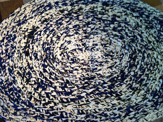 Текстиль, ковры ручной работы. Ярмарка Мастеров - ручная работа. Купить Коврик овальный. Handmade. Синий, шерсть, шерсть