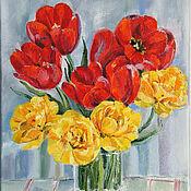 handmade. Livemaster - original item Oil painting. Bright tulips. Handmade.
