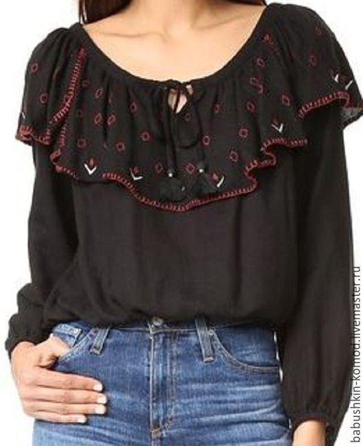 Блузки ручной работы. Ярмарка Мастеров - ручная работа. Купить Женская вышитая блузка  ЖР4-084. Handmade. Однотонный
