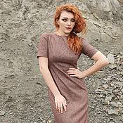 Одежда ручной работы. Ярмарка Мастеров - ручная работа Бордовое вечернее платье с люрексом, открытая спина, по колено. Handmade.