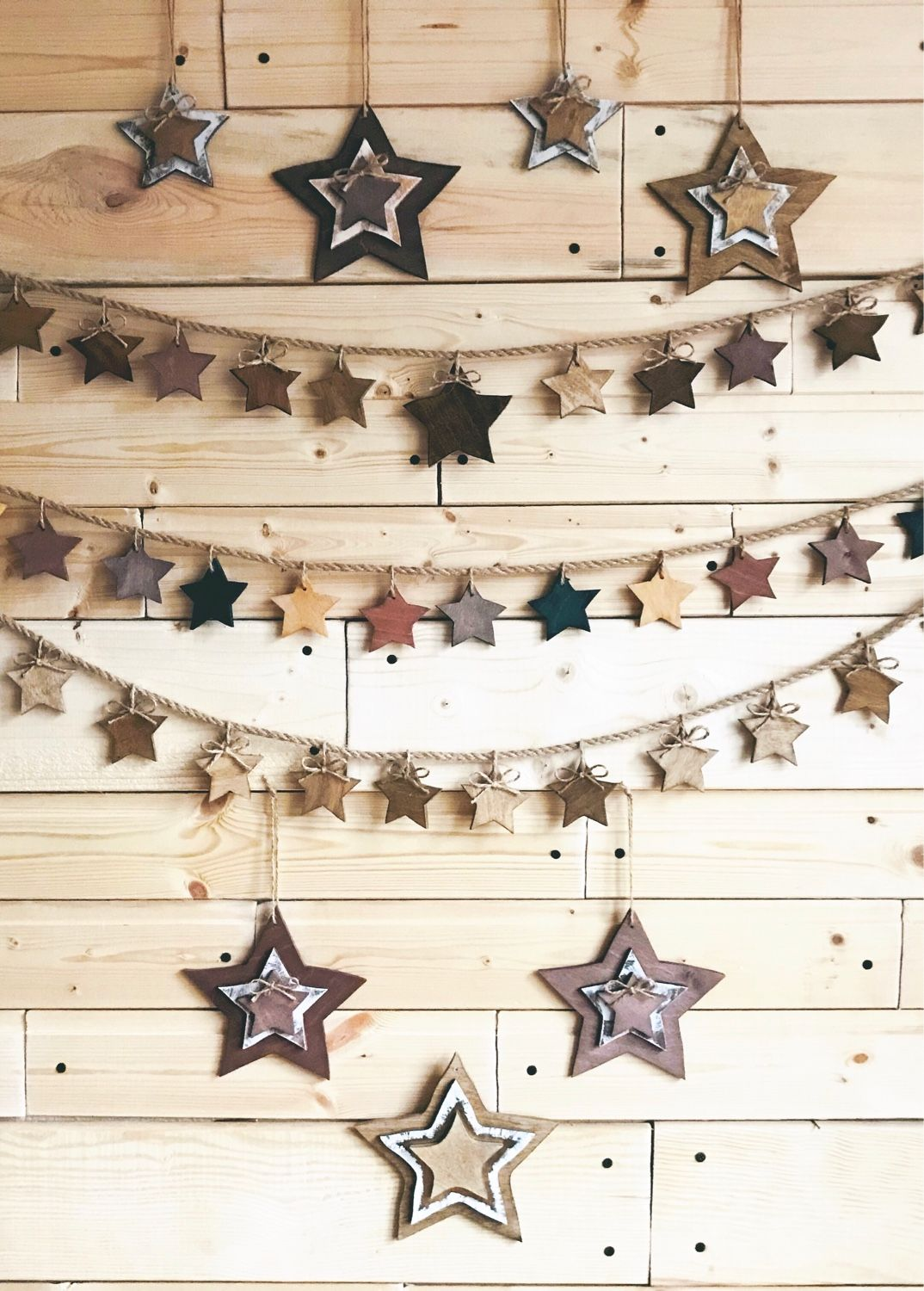 Garland wooden stars, Fairy lights, Moscow,  Фото №1