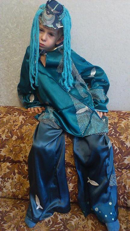 Детские карнавальные костюмы ручной работы. Ярмарка Мастеров - ручная работа. Купить Я - водяной, я-водяной. Handmade. Синий, маскарад