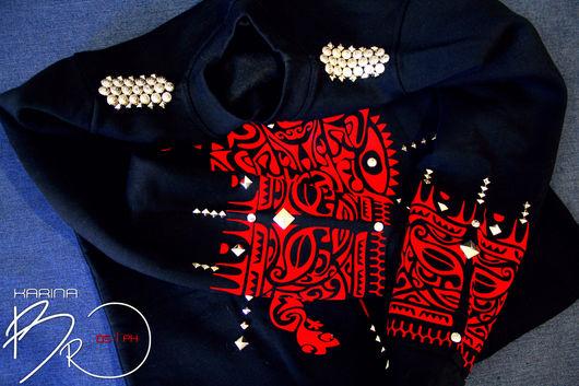 """Кофты и свитера ручной работы. Ярмарка Мастеров - ручная работа. Купить Свитшот """"Этно"""". Handmade. Свитшот, стиль, тату, 2015 год"""