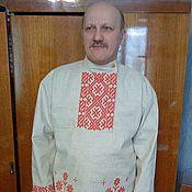 Русский стиль ручной работы. Ярмарка Мастеров - ручная работа мужская рубаха-косоворотка из льна. Handmade.