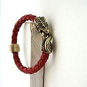 Украшения handmade. Livemaster - original item Dragon bracelet genuine leather red. Handmade.