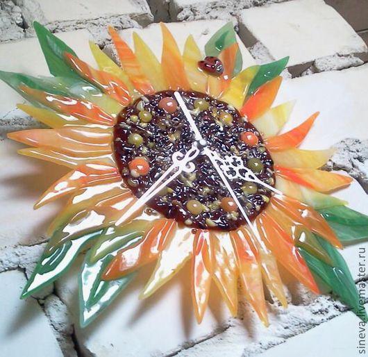 Часы для дома ручной работы. Ярмарка Мастеров - ручная работа. Купить Часы Подсолнух. Handmade. Оранжевый, часы, кухня