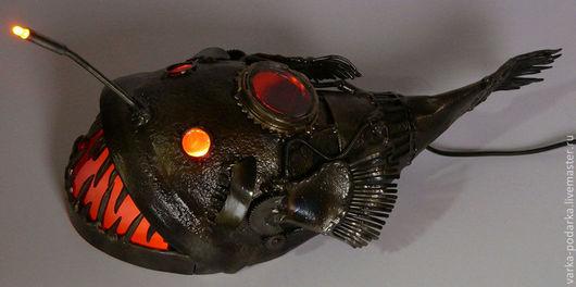 """Освещение ручной работы. Ярмарка Мастеров - ручная работа. Купить Подводная лодка """"Морской чёрт"""". Handmade. Золотой, подлодка, сталь"""