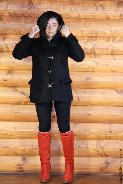 """Верхняя одежда ручной работы. Ярмарка Мастеров - ручная работа. Купить Пальто шерстяное с капюшоном """"ЧерШер"""". Handmade. Черный"""