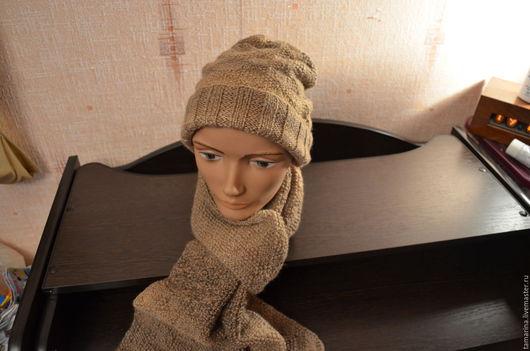 Шарфы и шарфики ручной работы. Ярмарка Мастеров - ручная работа. Купить Шапка и шарф коричневый меланж. Handmade. Коричневый, ромбы