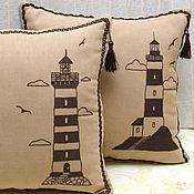 Для дома и интерьера ручной работы. Ярмарка Мастеров - ручная работа Маяки - интерьерные подушки - сшито на заказ. Handmade.