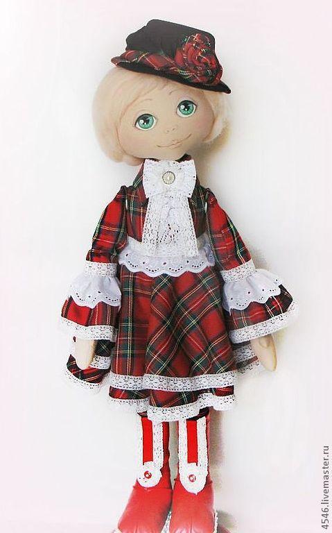 Коллекционные куклы ручной работы. Ярмарка Мастеров - ручная работа. Купить Большие куколки- Оля. Handmade. Ярко-красный, пуговки