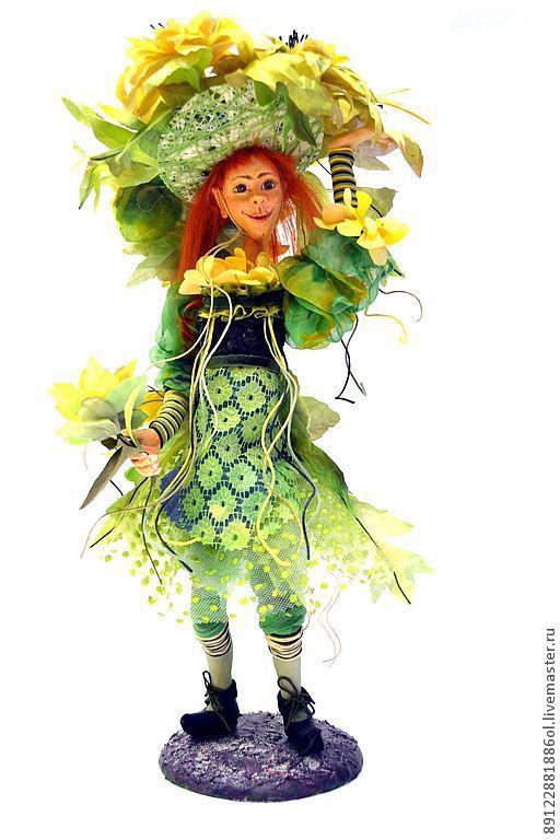 Коллекционные куклы ручной работы. Ярмарка Мастеров - ручная работа. Купить Лесной Эльф. Handmade. Салатовый, акриловые краски