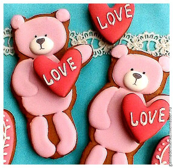 A cake on Valentine's Day. Gingerbread Bear with a heart, Gingerbread Cookies Set, Rostov-on-Don,  Фото №1