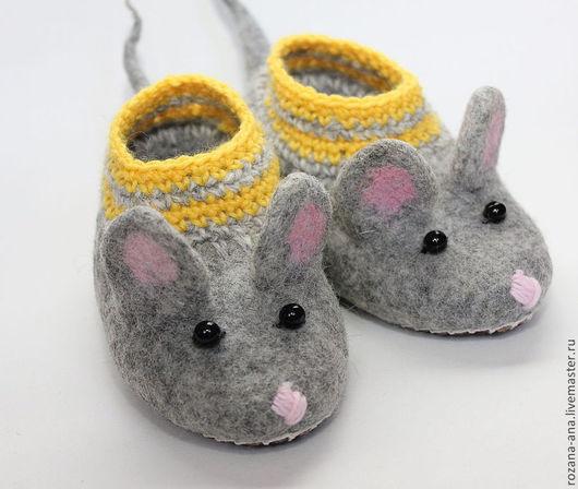 Обувь ручной работы. Ярмарка Мастеров - ручная работа. Купить Валяные тапочки-мышки N165-166. Handmade. Серый, мышка
