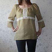 Одежда ручной работы. Ярмарка Мастеров - ручная работа Туника из умягченного льна. Handmade.