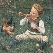 """Картины и панно ручной работы. Ярмарка Мастеров - ручная работа Вышитая картина """"Мальчик с мыльными пузырями"""" (Blowing Bubbles).. Handmade."""