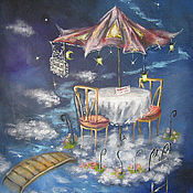 Картины и панно ручной работы. Ярмарка Мастеров - ручная работа Столик для двоих:). Handmade.