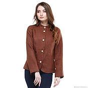 Одежда handmade. Livemaster - original item Linen jacket with brown reliefs. Handmade.