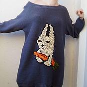 Одежда ручной работы. Ярмарка Мастеров - ручная работа Серый джемпер с белым зайчиком. Handmade.