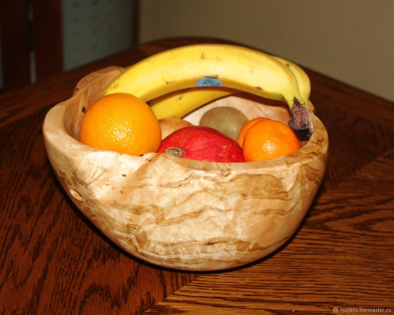 Ваза для фруктов из дерева (березового капа). Ручная работа
