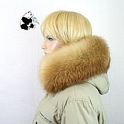 handmade. Livemaster - original item Fur detachable fringe collar on the hood of red Fox fur. Handmade.