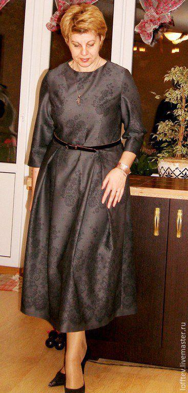 """Платья ручной работы. Ярмарка Мастеров - ручная работа. Купить Платье шерстяное миди с рисунком """"кружево"""". Handmade. Серый"""