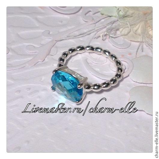 Кольца ручной работы. Ярмарка Мастеров - ручная работа. Купить Кольцо из серебра с голубым кристаллом. Handmade. Голубой, кольцо с кристаллом