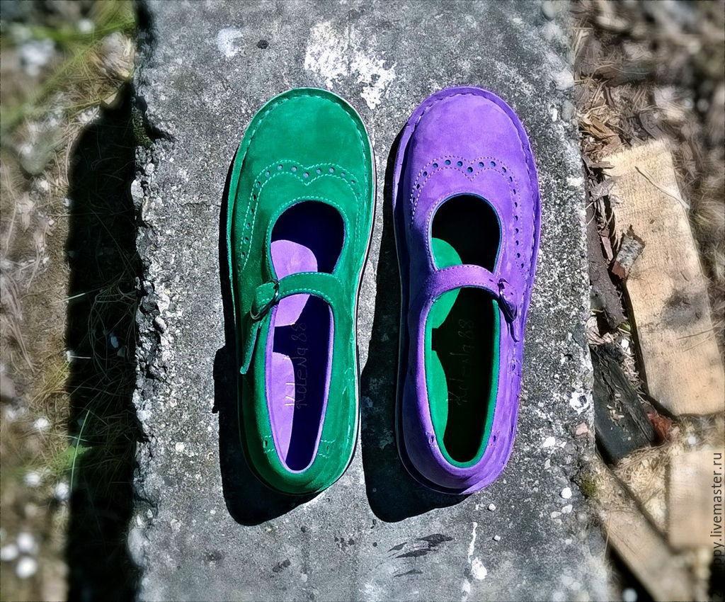 Туфли из нубука Куда уходит детство.зелень&сирень – заказать на Ярмарке Мастеров – 6EMZNRU | Туфли, Ялта