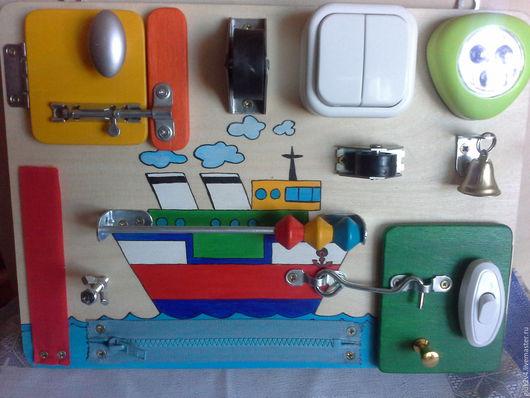 Развивающие игрушки ручной работы. Ярмарка Мастеров - ручная работа. Купить Бизиборд-мини Кораблик. Handmade. Комбинированный, подарок для девочки