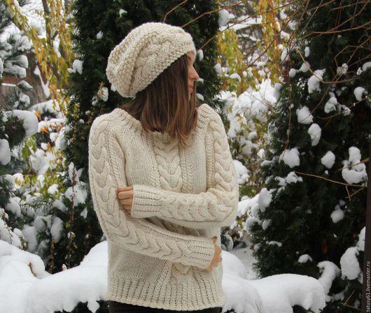 Кофты и свитера ручной работы. Ярмарка Мастеров - ручная работа. Купить Свитер вязаный женский Зимняя прогулка. Handmade.