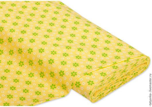Ткань немецкий хлопок `Цветы` (зеленый/желтый)