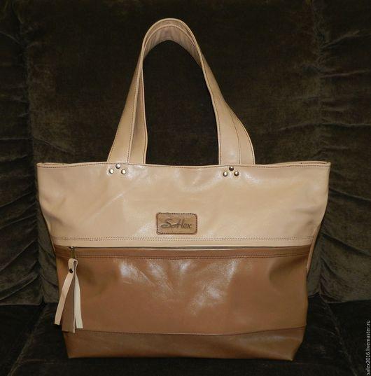 Женские сумки ручной работы. Ярмарка Мастеров - ручная работа. Купить Сумка большая - бежевая(коричневая). Handmade. Бежевый, сумка большая