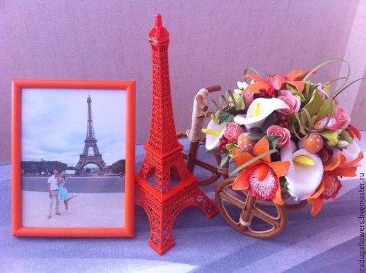 Интерьерные композиции ручной работы. Ярмарка Мастеров - ручная работа. Купить Велосипед с цветами из полимерной глины Орхидеи. Handmade.