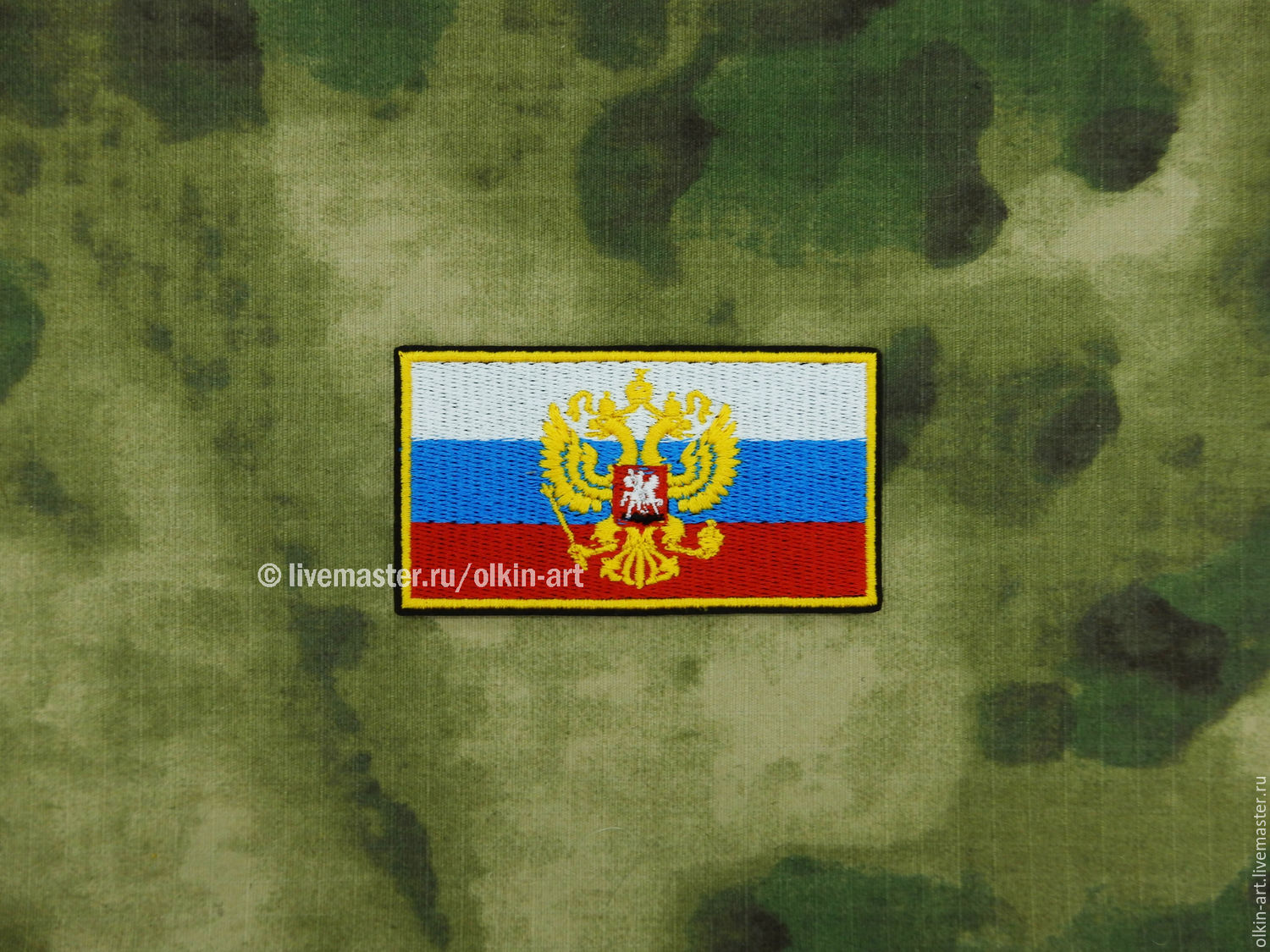 Stripe `Russian Flag with the emblem of a` big (387 color) Machine embroidery. Beloretskiy stripe. Patch. Chevron. Patch. Embroidery. Chevrons. Patches. Stripe. Buy patch.