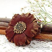 Украшения handmade. Livemaster - original item Brooch flower leather. Flower made of leather.Brooch leather brown. Handmade.