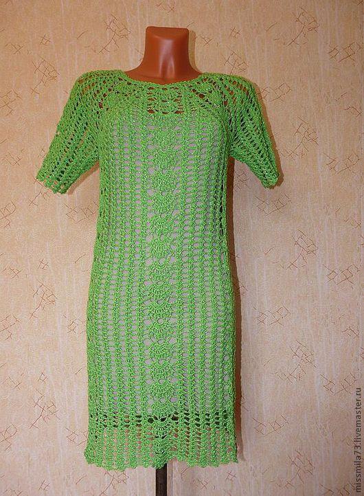 """Платья ручной работы. Ярмарка Мастеров - ручная работа. Купить платье летнее ажурное """"свежесть зелени"""". Handmade. Ярко-зелёный"""