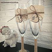 """Свадебный салон ручной работы. Ярмарка Мастеров - ручная работа Свадебные фужеры """"Лесная история любви"""". Handmade."""