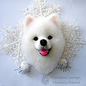 Украшения handmade. Livemaster - original item Brooch dog husky Samoyed / symbol 2018 dog/ white dog. Handmade.