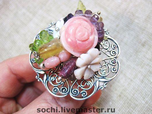 """Кольца ручной работы. Ярмарка Мастеров - ручная работа. Купить Кольцо""""Роза"""". Handmade. Крупное кольцо, цитрины, опал, хризолит"""