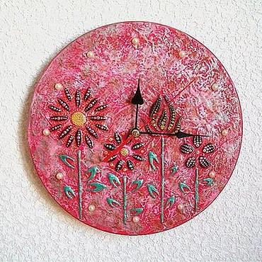 Для дома и интерьера ручной работы. Ярмарка Мастеров - ручная работа Часы настенные Малинов цвет, часы ручной работы. Handmade.