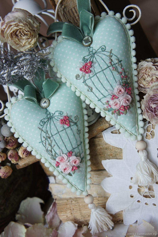Textile hearts-pendants with embroidery. Mint, Pendants for pots, Myski,  Фото №1