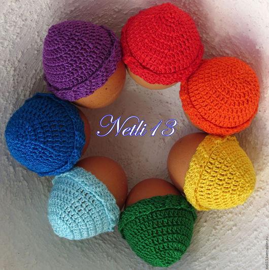 Шапочки на пасхальные яйца `Радуга` без помпона. Netli13 Основные цвета