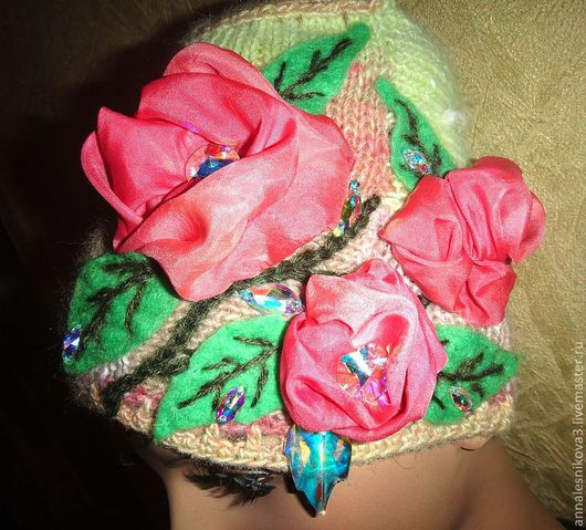 """Шапки ручной работы. Ярмарка Мастеров - ручная работа. Купить Шапочка """"Нежные розы"""". Handmade. Шапочка, дизайнерская шапочка"""